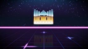 synthwave retro ontwerppictogram van moskee vector illustratie