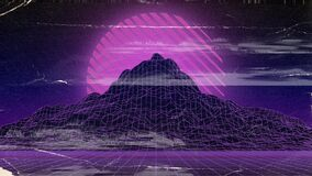 Free Synthwave Retro Wallpaper With The Effect Of A Worn Postcard Royalty Free Stock Photo - 217406585