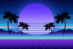Synthwave and retrowave background template. Palms, sun and space in computer game. Retro design, rave music, 80s