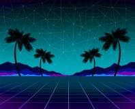 发光霓虹,synthwave和retrowave背景模板 减速火箭的电子游戏,未来派设计,吹捧音乐,80s 向量例证
