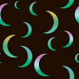 Synthwave seamless pattern with moons in green colors royalty free illustration