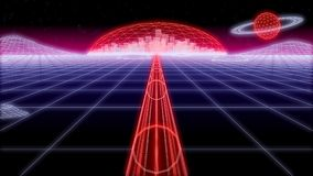 Space city tunnel synthwave Background 3d render