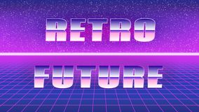 Synthwave style poster. Retro future royalty free illustration