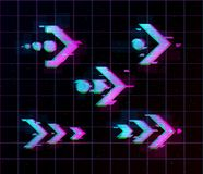 Synthwave vaporwave retrowave Glitch Arrows, pointers, direction Set. Glitch design elements for poster, flyer, cover royalty free illustration
