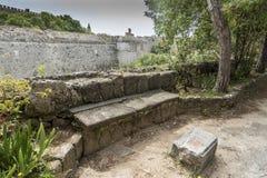 Synvinkel av fästningen av Rhodes Arkivbilder