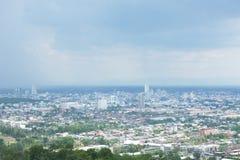 Synvinkel av Hat Yai, Songkla landskap i Thailand arkivfoton