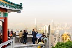 Synvinkel av Victoria Peak i Hong Kong Arkivfoto