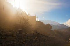 Synvinkel för morgon för landskapbergnatur Trekking landskapbakgrund för berg Inget foto HorisontalAsien Fotografering för Bildbyråer