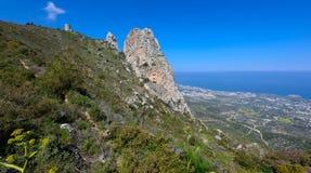 Synvinkel i kyreniaberg, nordliga Cypern 4 Arkivbild
