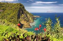 Synvinkel Miradouro Dos Caimbros på Flores Azores öar Royaltyfria Foton