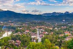 Synvinkel och härligt landskap i luangprabang, Laos Royaltyfri Fotografi