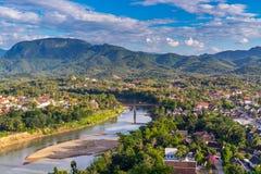 Synvinkel och härligt landskap i luangprabang, Laos Arkivfoto
