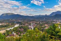 Synvinkel och härligt landskap i luangprabang, Laos Royaltyfri Bild