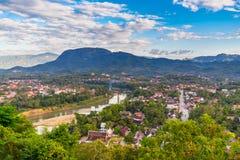 Synvinkel och härligt landskap i luangprabang, Laos Arkivfoton