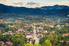 Synvinkel och härligt landskap i luangprabang, Laos Arkivbild