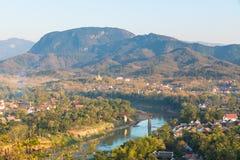 Synvinkel och landskap i luangprabang, Laos Arkivfoto