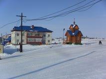 Syo-Yakh的解决的出现在冬天 库存照片