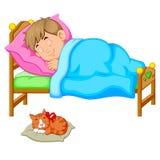 Sypialna chłopiec w łóżku z figlarką ilustracja wektor