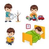 Sypialne aktywność Ustawiająca chłopiec Wektorowa ilustracja royalty ilustracja