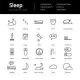 Sypialne Kreskowe ikony Obrazy Stock