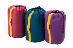 Sypialne torby odizolowywać na białym tle Obrazy Royalty Free