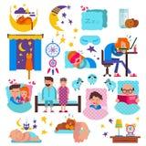Sypialni ludzie wektorowych śpiących postać z kreskówki i zwierzęta domowe śpią na poduszce w łóżkowy nocny ilustracyjnym ustawia Fotografia Royalty Free