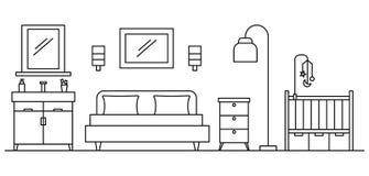 Sypialni pojęcia tło, konturu styl ilustracji