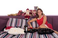sypialni ranek kobiety xmas Fotografia Stock
