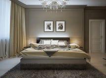 Sypialni wnętrze w nowożytnym stylu Obrazy Royalty Free