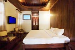 sypialni wnętrza styl drewniany Obraz Royalty Free