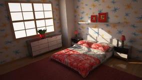 Sypialnia 3d Zdjęcie Stock