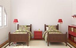 Sypialnia dla dwa dzieci Zdjęcia Royalty Free