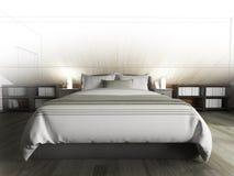 Sypialnia na ciemnej pod?odze przeciw drewnianej ?cianie ?wiadczenia 3 d ilustracja wektor
