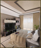 Sypialnia nowożytny stylowy wewnętrzny projekt, 3D odpłaca się Zdjęcia Royalty Free