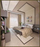 Sypialnia nowożytny stylowy wewnętrzny projekt, 3D odpłaca się Fotografia Royalty Free
