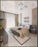 Sypialnia nowożytny stylowy wewnętrzny projekt, 3D odpłaca się Obrazy Stock