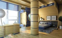 Sypialnia w drewnie Obraz Royalty Free