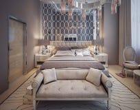 Sypialnia w luksusowym nowożytnym stylu zdjęcie stock