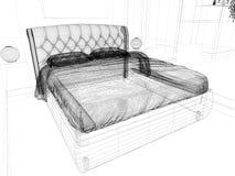 Sypialnia w nowożytnym wnętrzu w jaskrawych kolorach 3 d odpłacać się ilustracja wektor
