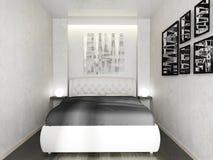 Sypialnia w nowożytnym wnętrzu w jaskrawych kolorach 3 d odpłacać się royalty ilustracja
