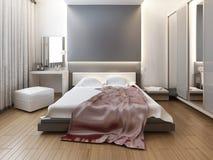 Sypialnia w orientalnym stylu świetle z czerwienią i kolorem żółtym kwitnie obraz stock