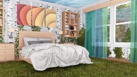 Sypialnia wewnętrzna miesza wewnątrz z natury 3D projektem royalty ilustracja