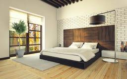 Sypialnia z ściana z cegieł Obraz Stock