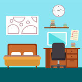 Sypialnia z meble Mieszkanie stylowa wektorowa ilustracja wygodnie, wnętrze Zdjęcie Stock