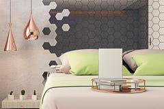 Sypialnia z pustym plakatem ilustracja wektor