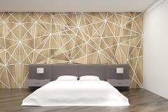 Sypialnia z round łóżkiem i geometrycznymi ścianami Fotografia Royalty Free