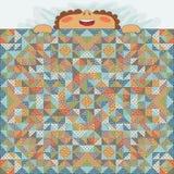 Sypialny dzieciak zakrywający z patchwork koc ilustracja wektor