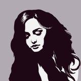 Sypialny dziewczyna portret, piękna marzy kobieta, sylwetki młoda dama Royalty Ilustracja