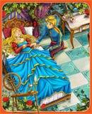 Sypialny piękno kasztele ilustracja dla dzieci - książe lub princess - rycerze i czarodziejki - Zdjęcia Royalty Free