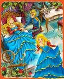 Sypialny piękno kasztele ilustracja dla dzieci - książe lub princess - rycerze i czarodziejki - Obraz Stock